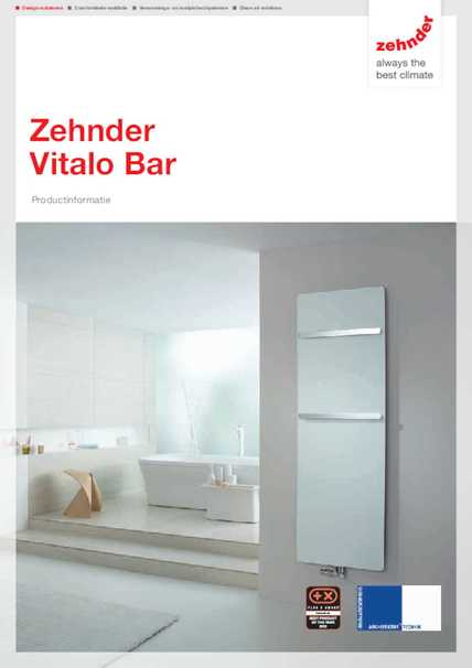 zehnder vitalo bar zehnder group nederland. Black Bedroom Furniture Sets. Home Design Ideas